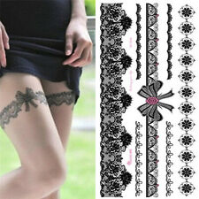 Waterproof  Tattoo Temporary Sticker on Body Leg Transfer Lace Stocking TattooSU