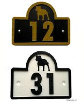 Staffordshire Bull Terrier House Door Number Plaque - Gate Dog Sign (0 to 9999)