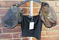 BERSHKA, BLACK CROPPED TOP WITH SHEER PUFF SLEEVES SIZE XS  BNWT