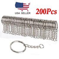Lots 25mm Polished Silver Keyring Keychain Split Ring Short Chain Key Rings US