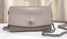 Authentic Tory Burch Parker Leather Chain Wallet Reversible Crossbody Bag Grey