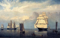 Huge seascape Oil painting Fitz Hugh Lane - Salem Harbor with huge sail boats