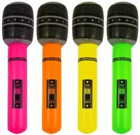 2 X Inflatable Microphone Blow Up Toy Mic Neon two coloured