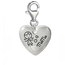 Heart with Carved Little Girl Mama Clip on Pendant for European Charm Jewelry w/
