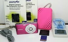 Sony Digital Camera Bundle Cybershot Dsc-W530 Pink 14.1 MP w/ 3 batteries, case