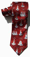 John Ashford NEW Red Snowman Holiday Christmas Men's Neck Tie Silk $49 A3678