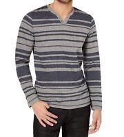 INC International Concepts Men's Striped Long-Sleeve Split V-Neck Shirt, Gray