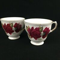 Set of 2 VTG Footed Cups by Ridgway Pottery Royal Vale Red Roses England