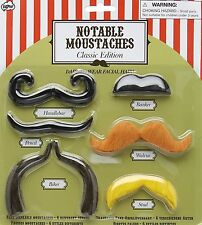 NPW Fun Classic FAKE MUSTACHES Set 6 Handlebar,Banker,Pencil,Walrus,Biker,Stud
