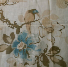 Antique Art Deco Floral Bird Cotton Fabric ~ Blue Brown Tan Beige Tea Tone