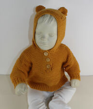PRINTED KNITTING INSTRUCTIONS-BABY TEDDY BEAR HOODIE KNITTING PATTERN