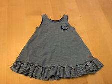 Petit Bateau Striped Dress W/Rosette Accent, Blue, 6 Months, Sleeveless, Nwot