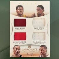 2012-13 Immaculate Kyrie Irving + Damian Lillard RC /50 Quad Jersey Patch Rookie
