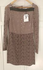 Diane von Furstenberg Taupe New Sarita Pebble Lace Dress, NWT Size 6