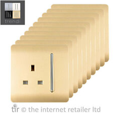 Trendi 1 Gang Artistic Modern Glossy 13A Switched Plug Socket Champagne Gold x10