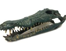 small Crocodile skull solid brass heavy decoration hand made 23 Cm Aged Green B