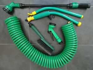 Garden Hose - Coil - 12m - Reach Pole - Hanging Basket Pole - Brush - Spray Guns
