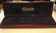 OLD USED WOOD EMPTY BOX  GLASSHUTTE ORIGINAL BLUE VELVET