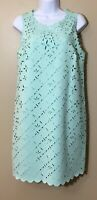 J Crew Size 8 Laser Cut Floral Shift Dress Scalloped Mint Green