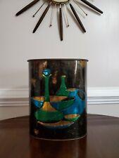 Vtg 50S 60S Mid Century Metal Tin Trash Can Wastebasket J.L. Clark Gold Blue