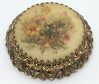 Vintage Brooch Pin Flowers Gold Tone Cameo Portrait