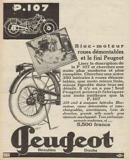 Y9085 Motoveicolo PEUGEOT P. 107 - Pubblicità d'epoca - 1929 Old advertising