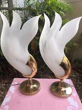 PAIR MID CENTURY MODERN BRASS & ACRYLIC LEAVES PETALS TULIP ROUGIER STYLE LAMPS