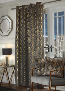 Charleston Foil Print Curtain Single Panel Grey & Gold