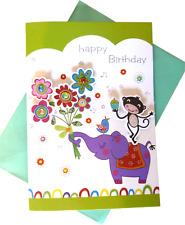 607 Single Birthday Card - Happy Birthday - Monkey, Elephant & Flowers  (Size M)