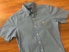 Mens Azul Blanco Cuadros Camisa Ralph Lauren Polo (XS-S) * Excelente Cond *