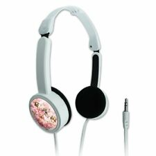 Puppies Dogs Pink Flowers Pattern Travel Portable On-Ear Foldable Headphones