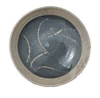 Midcentury Signed Pottery Abstract Charger Circa 1965 Gray Blue
