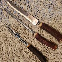 Vintage Sheffield Carving Set. Knife, Fork, and Sharpener