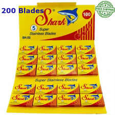 SHARK SUPER STAINLESS DOUBLE EDGE RAZOR BLADES ( 200 PIECES ) FREE SHIPPING