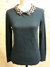 Oasis teal long sleeve jumper, Small, removable leopard collar, beautiful!