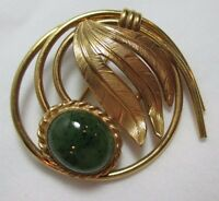 VINTAGE DANECRAFT 1/20th 12 K.T. GOLD FILLED w GREEN SPECKLED AGATE PIN BROOCH