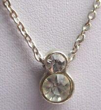 Beau pendentif couleur argent collier chaîne bijou vintage cristal diamant 1803