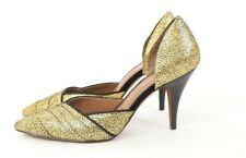 Donald J Pliner Pumps Heels 9 Metallic Gold Flecked Pointy Toe NWOT