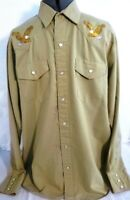 Napole-Mens Western Rodeo Pearl Snap Shirt, Size Large, Embroidered Eagles