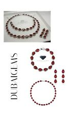 White gold finish Ruby And created diamond pear necklace earrings & bracelet Set