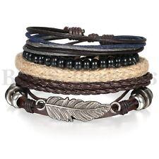 4pc Tribal Vintage Angel Wing Wristband Leather Rope Black Stone Bracelet Unisex