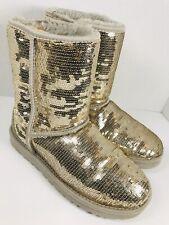 🔥 Uggs Australia Gold Sequin Classic Short Boots • Women's Size 7