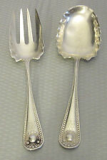 """antique Whiting Sterling Silver 1880 BEAD SALAD SET 2p fork spoon 7"""" mono M 75g"""