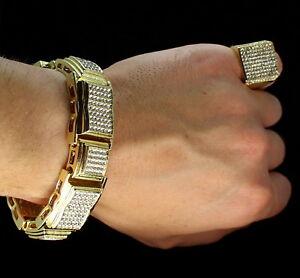 Mens 2pc Chunky Bracelet Ring Iced Set 14k Gold Plated Hip Hop Fashion