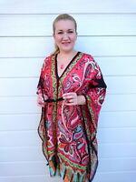 RED Kaftan Top Plus Size Silk Beach Coverup Paisley Stylish Resort Cruise wear