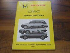 Honda CIVIC MJ 1984 Technik und Daten Kundendienstschule WERKSTATT HANDBUCH