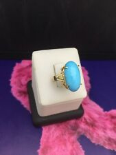 Vintage 18k Yellow Gold Oval cabochon Turquoise Sz 4.75 Ring