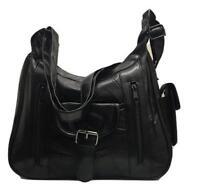 Women Ladies Real Leather Organizer Multi Pocket Shoulder Bag Handbag Satchel