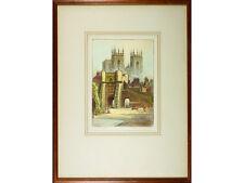 Robert Herdman-Smith ARWA - 'Bootham Bar, York' - ANTIQUE Coloured Etching