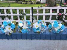 Wedding flowers bridal bouquet decorations turquoise blue silver 5 plus bouquets